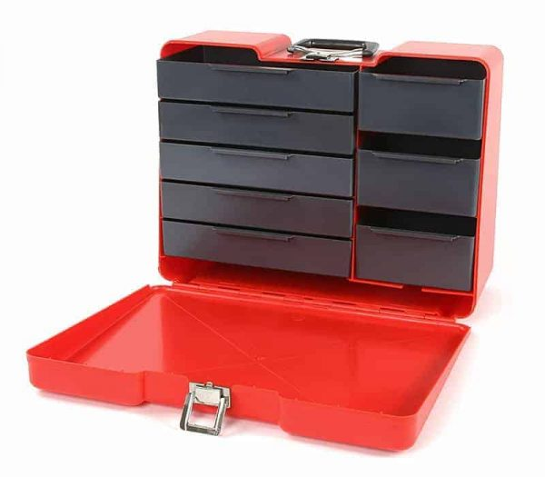 Polybutler Pit Box for Tools with 8 Draws red